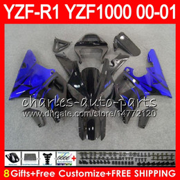 98 r1 fairing blue Australia - Bodywork For YAMAHA YZF1000 YZF 1000 YZFR1 00 01 98 99 74NO46 R 1 YZF-R1000 Body blue flames YZF-R1 YZF R1 2000 2001 1998 1999 Fairing Kit