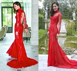 $enCountryForm.capitalKeyWord Canada - New Arrival Red High Neck Evening Dresses 2017 Long Sleeves Lace Appliques Mermaid Prom Dresses Formal Dresses Evening Wear Party Gowns