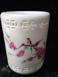 china art paint NZ - Collection Folk Art Chinese Famille Rose Porcelain hollow Hand-painting bird & Peach blossom brush pot W Qianlong Mark C019
