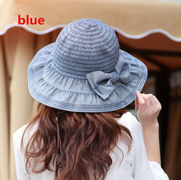 $enCountryForm.capitalKeyWord NZ - 2018 jeans wide brim hats New Women 4 colors Solid Summer Sun Hat Sunshade Waterproof Foldable Sunhat Wide Brim hats Hiking Caps