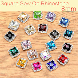 hair claws rhinestones NZ - 8mm Square Shape 50pcs lot Glass Crystal Buttons Sew On Rhinestones With Claw Decoration Hair Accessories