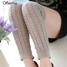 Conception De Chaussettes En Crochet Pas Cher-Vente en gros Sunfree 2016 New Design Hot Sale Femmes Winter Warm Leg Warmers Tricoté Crochet Long Chaussettes Brand New and High Quality Nov 8