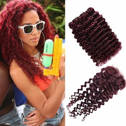 $enCountryForm.capitalKeyWord NZ - Popular Color Wine Red 99J Brazilian Human Hair 3 Bundles With Lace Closure Burgundy Deep Wave Hair With Ear To Ear Lace Closure