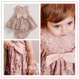 Ensemble De Dentelle En Dentelle Pas Cher-Toddler Baby Girls Dentelle Robe Bow Sweet Kids Party Vêtements Ensembles Robe et Lace Underwear 0-3T Vente en gros