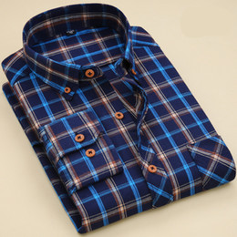 Mens Plaid Shirt Style Canada - 2017 Latest Shirt Designs 100% Cotton Long Sleeve Plaid Shirt Mens Regular Style Casual Shirts for Men