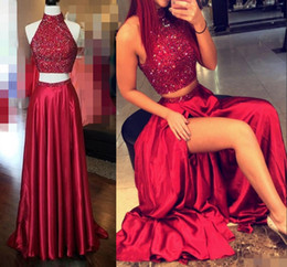 Discount prom dresses Shinning Two Pieces Prom Dresses High Neck Crystal Beading Dark Red Hollow Back Side Split Evening Gowns Long Formal Cocktail Party Dress