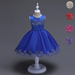 multi color tulle prom dresses Australia - 2017 Brand Quality Girls Tutu Dress Embroidery Flower Lace Kids Clothes Princess Prom Party Wear