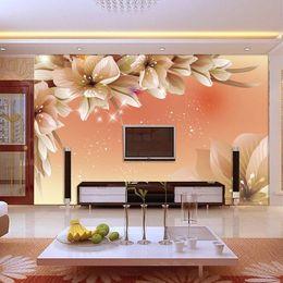 $enCountryForm.capitalKeyWord Canada - 3D photo wallpaper Beautiful dream lily flower TV wall hall sofa bedroom entrance large mural wallpaper personalized customization