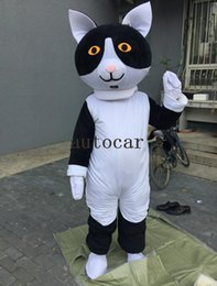 white cat halloween costume Canada - black and white cat mascot costumes for adults circus christmas Halloween Outfit Fancy Dress Suit Free Shipping