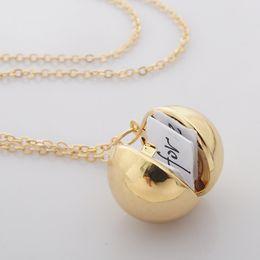 $enCountryForm.capitalKeyWord Canada - Fashion a small box necklace secret information into ball locket neckla silver gold plated pendant necklace for women men XL747