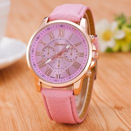 Wholesale 15Color Luxury Unisex Geneva Watch Women Mens Roman Numerals Leather PU Quartz Wrist Watches Bracelet Fashion Sports Cystal Wristwatch