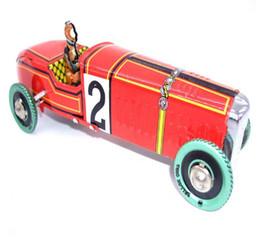 Ferro de metal Artesanato Do Vintage Windup clássico vermelho modelo de Carro de Corrida Brinquedo Veículo de lata relógio Recolhível Collectible Presente Restauração brinquedo antigo YH997 em Promoção