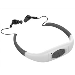 Discount neckband mp3 player - Wholesale- 100% IPX8 Waterproof 4GB MP3 Player Headset Underwater Neckband Swimming Sport mp3 player with FM Radio Stere