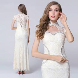 Show Wedding Gown Dresses Canada - Women's fashion lace sexy evening dress banquet auto show wedding dress split maxi prom dress #1562