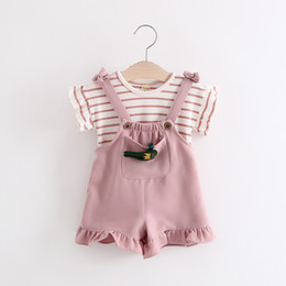 $enCountryForm.capitalKeyWord Canada - korean children summer clothing girl summer stripe t-shirt with suspender dress 2pcs sets kids cotton clothes suits