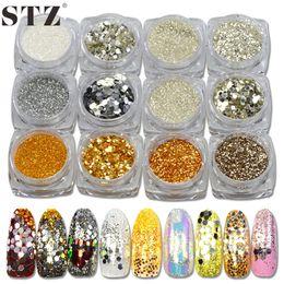 $enCountryForm.capitalKeyWord NZ - Wholesale- STZ 3g New Nail Art Glitter Powder Pure Gold Silver Sparkly Pearl Tips Nail Sequin 3d DIY Pigment 12 Designs Nail Sticker #GS