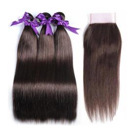 China 3Pcs Lot Malaysian Brown Virgin Hair Bundles #4 Medium Brown Silky Straight Chestnut Brown Human Hair Weaves Extensons 300g Lot supplier chestnut brown hair weave suppliers