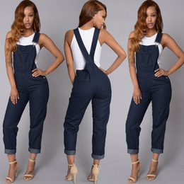 Cravate En Jean Jumpsuit Été Pas Cher-Vente en gros - Mode Womens Casual Loose Denim Strap Jumpsuits 2017 Summer New Blue Playsuit Overalls