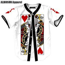 7064920da ALMOSUN King of Hearts Jersey All Over Print Baseball T-Shirt Hip Hop  Street Wear 6 ...