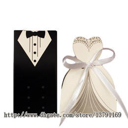 european wedding tuxedo NZ - 100Pcs European Style Tuxedo Dress Groom Bridal Wedding Party Favor Boxes Ribbon Box Candy Gift Holder