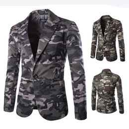 Discount fashion mens camouflage military jacket New Mens Blazer Slim Fit Suit Jacket Fashion Men Camouflage Blazer Style Casual Single Button Military Blazer for Men