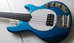 $enCountryForm.capitalKeyWord Australia - Custom Music Man 4 Strings Bass Erine Ball StingRay Metallic Blue Electric Bass Guitar Fretless Fingerboard White Pickguard Single Pickup