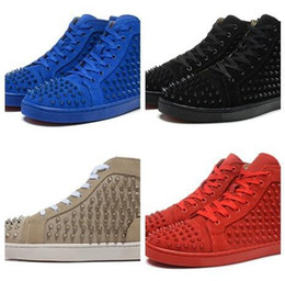 Cheap Leisure Shoes For Men NZ - Cheap Luxury Party Wedding red bottom sneakers for man with Spikes black suede fashion casual mens shoes 2017 men leisure trainer footwear