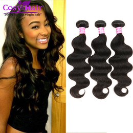Human Hair Extensions India Canada - Brazilian hair body wave human virgin hair extension weft remy human India hair unprocessed soft Malaysian body wave free shipping Color 1B