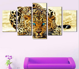 $enCountryForm.capitalKeyWord Canada - 5 Pcs Canvas Animal Printing High Quality HD Cheap Price Great Art African Cheetah Pictures Modular Modern Home Decor Unframed