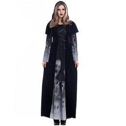 women s skeleton costumes UK - 2017 New Arrival Skeleton Printing Witch Costumes Vampire Cosplay Halloween Theme Party Women Long Dresses Hot Selling