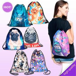 plain color blue string bag 2019 - Wholesale- 2017 Hot Sale New Fashion Backpack 3D Character Printing Travel Softback Man Women Harajuku Drawstring Bag Me
