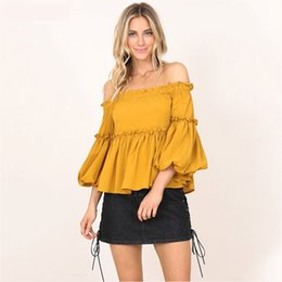 Chemise Jaune Épaulée Pas Cher-Off The Shoulder Frilled Yellow Blouses Femmes 2017 Autumn New Butterfly Sleeve Tops Grisl Ruffles Shirt Streetwear Sweet Beach Blusas