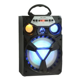 bluetooth speaker screen UK - Wholesale- Portable 15W High Power Bluetooth Speaker With LCD Screen Bass Colorful LED Light Support FM Radio TF Card U-disk Playing