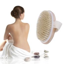 Gros-peau sèche corps chaud brosse à poils naturels doux spa brosse bain masseur maison populaire nouveau en Solde