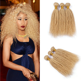 afro kinky hair extensions 613 2019 - Grade 9A Color 613 Bleach Blonde Eurasian Hair Afro Kinky Curly Human Hair Weave Bundles SOFT THICK Tangle Free Hair Ext