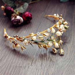 Wholesale Wholesale Wedding Bridal Crown Tiara Rhinestone Headpiece Crystal Headband Gold Pearl Princess Queen Hair Jewelry Crown Headdress Cheap