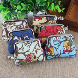 wholesale colorful wallets NZ - Fashion Vintage Owl Printed Colorful Canvas Hasp Coin Purse Mini Cartoon Case Women Keys Coin Pouch Wallet