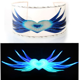 car sound music equalizer 2019 - Wholesale- POPNOW 90x25cm Blue Heart & Wing Style Car Sticker LED Flashing Light EL Sound Activated Equalizer Car Music