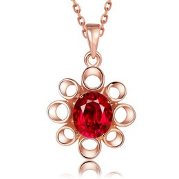 $enCountryForm.capitalKeyWord NZ - Best gift women's flower 18k gold jewelry pendant necklace WGN897,A++ Rose Gold red gemstone Necklaces with chains