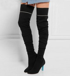 High Fashion Knit Fabric Canada - Free Shipping!Fashion Celebrity Heels Shoes Black Knit Strech Boot Thigh High Top Women Booties Sock Jersey Over-the-Knee Boots