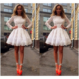 African Dresses For Special Occasions Canada - 2019 White Celebrity holiday Dresses short mini long sleeves Gowns for Special Occasion formal Prom full lace evening dress african 2019
