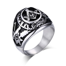 Free masons rings online shopping - Fashion Mens Rings High Qaulity Free Mason Stainless Steel Rings High Polished Religious Totem Biker Rings For Men US Size