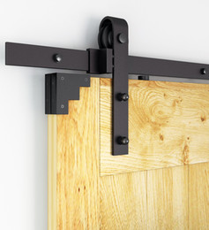Hanging track online shopping - 6FT FT FT Rustic Black Sliding Barn Door Hardware Modern Double Barn Wood Door Hanging Track Kit