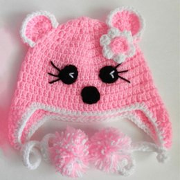 $enCountryForm.capitalKeyWord NZ - Lovely Pink Kitty Cat Earflap Hat,Handmade Knit Crochet Baby Girl Animal Pom Pom Hat,Children Winter Hat,Toddler Photo Prop