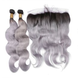 dark grey hair dye Canada - Hot Products Two Tone 1B Grey Dark Root Ombre Body Wave Hair With Free Middle Three Part Full Lace Frontal Closure