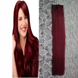 24 red tape hair extensions online 24 red tape hair extensions 99j red wine tape hair 100 brazilian human extension straight tape in hair extensions human hair 100g 40pcs pmusecretfo Choice Image