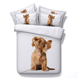 Chinese  5 Styles White Dog Balloon 3D Printed Bedding Sets Twin Full Queen King Size Bedclothes Bedspreads Duvet Covers Cat Animal Pet 3 4PCS Flower manufacturers