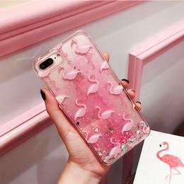 Glitter Capinha per iPhone 6 6s 7 7Plus Quicksand Case Cover per iPhone 6 s 7 Plus Pink Flamingo plastica dura ipone Coque