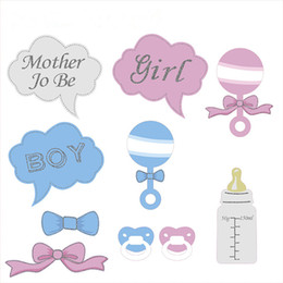 Accessoires Photo En Carton Pas Cher-10Pcs / set Baby Shower Party Props Baby Bottle Cardboard Photo Booth Props sur un Stick Favor Party Set Gift