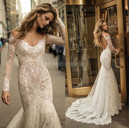 ruched wedding dresses fit flare Australia - 2019 Berta bridal long sleeves fit and flare lace mermaid wedding dresses off the shoulder v-neckline low back chapel train wedding gowns